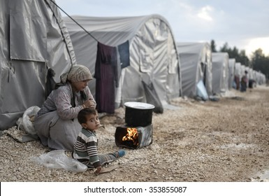 Syrian refugees families who came from Kobani district living in refugees tent in Suruc district, 25 October 2015, Turkey, Sanliurfa.