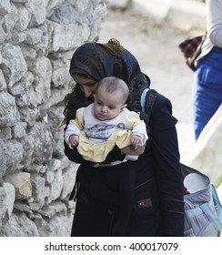 Syrian refugees are fleeing due to shelling in Latakia port city of Syria. Latakia, Syria, 15 February 2015