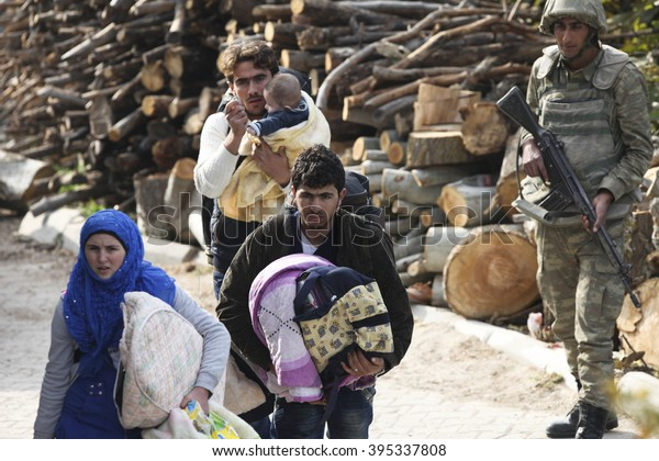 Syrian refugees are fleeing due to shelling in Latakia port city of Syria. Latakia, Syria, 15 February 2016.
