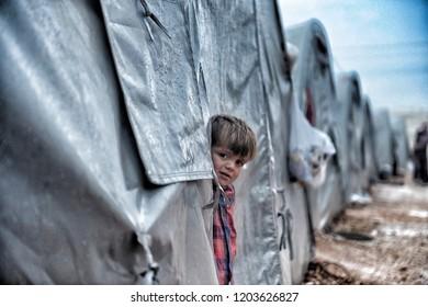 Syrian refugees walking on Turkey-Syria border in Suruc district. 18 FEBRUARY 2015 SANLIURFA at TURKEY,