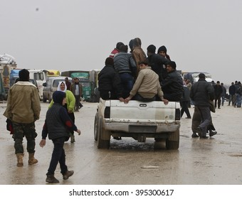Syrian refugees who came from Aleppo waiting at the refugee camp in Essalame border gate on Turkey - Syria border in Essalame, Syria, 02 February 2016.