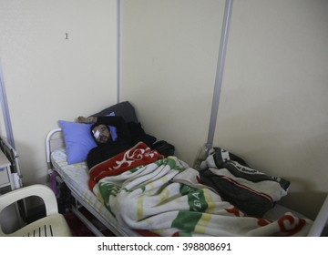 Syrian refugees wounded in the bombing in the Syrian city of Aleppo are being treated in Turkey. Mursitpinar, Kilis, 12 February 2016