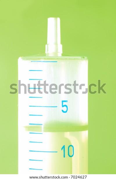 Syringe close up ready to use