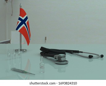 Syringe, COVID 19 coronovirus vaccine and phonendoscope on a medical table in the Norge.