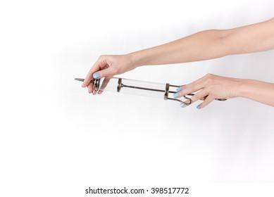 syringe in hands