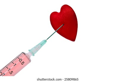 syringe and heart