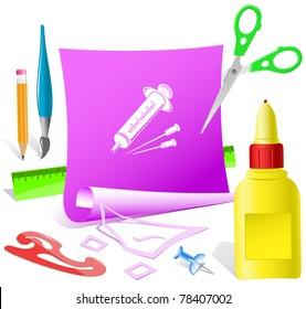 Syringe. Paper template. Raster illustration.