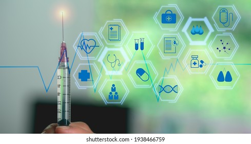 Syringes and technology icons, Modern investment ideas Of people in the digital age, medical technology, and futuristic concept.