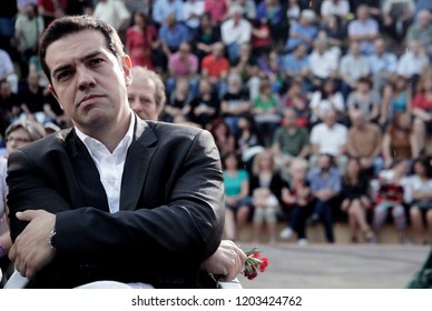 Syriza left-wing party leader and former Prime Minister Alexis Tsipras gestures as he delivers a pre-election speech to his supporters in Thessaloniki, Greece June 5, 2013