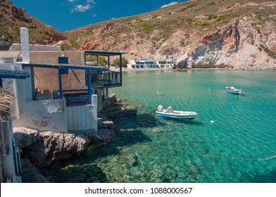 Syrmata fisherman houses of Firopotamos at Milos island in Greece