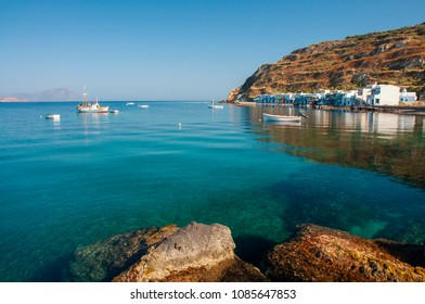 Syrmata fisherman houses at Klima village of Milos island in Greece
