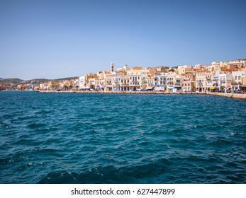 SYROS, GREECE - APRIL 10, 2016: View of Syros town with beautiful buildings and houses in a sunny day