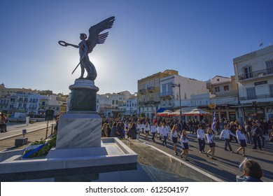 SYROS - GREECE, MARCH 2017: The Greek National Anniversary and a major religious holiday with school and military parades. This celebrates Greece's victory in the war of Independence against the Turks