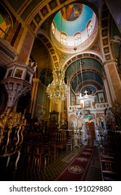 SYROS, GREECE - MAY 26: Interior Detail of Orthodox Greek Church on May 26, 2011 in Syros, Greece.