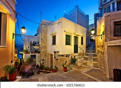 "SYROS ISLAND, GREECE-  June 21, 2015. In the picturesque alleys of Ano Syra (or ""Ano Syros""), the old medieval settlement of Syros island, Cyclades, Aegean sea."