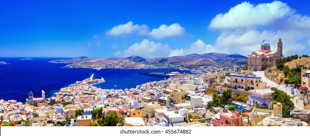 Syros island - panoramic view with church and port, Ermoupoli. Greece