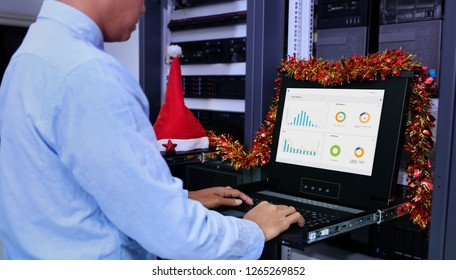 System administrator in a technology data center room and monitor show graph information of network traffic and status of device