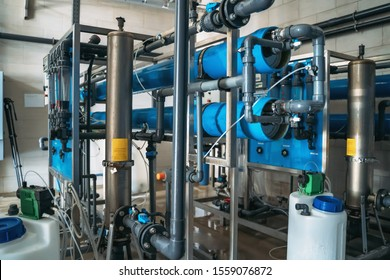 System of automatic treatment and filtration of drinking water. Plant or factory for production of purified drinking water.