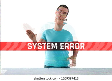 System error. Modern useful humanoid getting a system error and putting his hands up in a strange way while being out of order