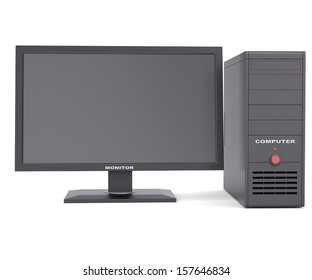 System unit with a monitor. Isolated render on a white background