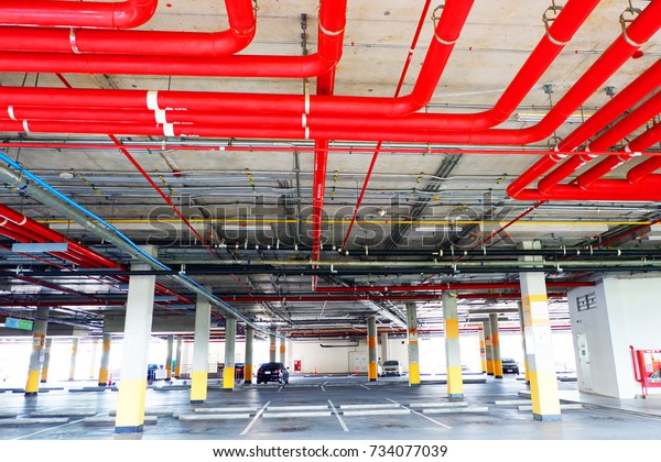 System Water Pipe Attached Ceiling Parking Stock Photo (Edit Now