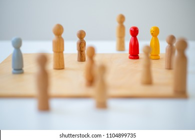 systemic board, family therapy, concept, psychotherapy wooden figures, people, team