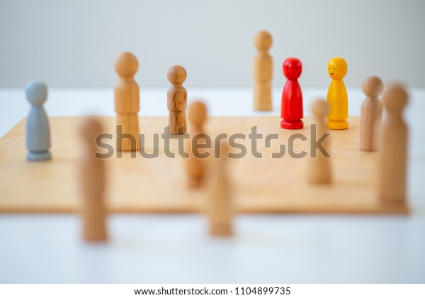 systemic board, family therapy, concept, psychotherapy wooden figures, people, team constellation, posing