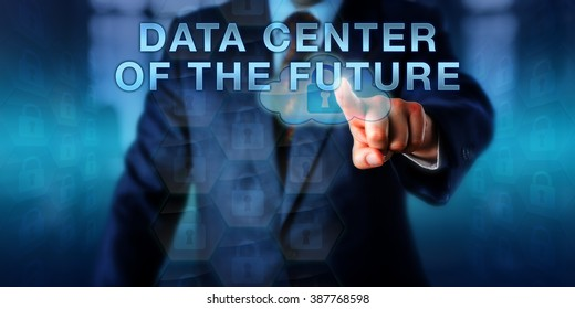 Systems librarian is touching DATA CENTER OF THE FUTURE on a virtual screen. Business metaphor and information technology concept for IT operations storing data and securing business continuity.