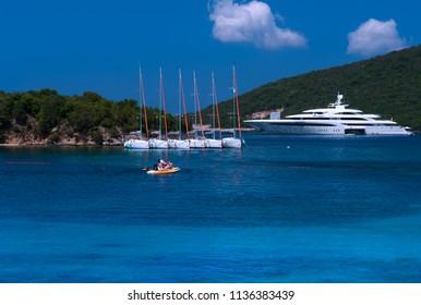 Syvota, Greece 16 July 2018. Luxury speed boats parked on a marina at Greece