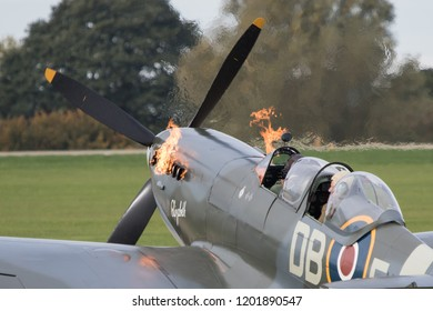 SYWELL, NORTHAMPTONSHIRE, UK – OCTOBER 7: Supermarine Spitfire NH341 starting up on October 7, 2018 Sywell Aerodrome, Northamptonshire, UK.