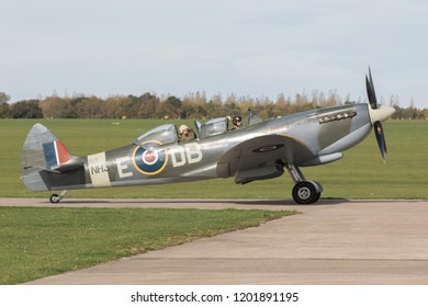 SYWELL, NORTHAMPTONSHIRE, UK – OCTOBER 7: Supermarine Spitfire NH341 moving on October 7, 2018 Sywell Aerodrome, Northamptonshire, UK.