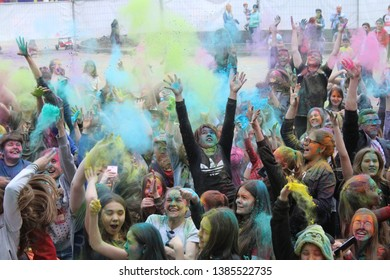syzran samara region russia 27.04.2019 holiday colors Holi