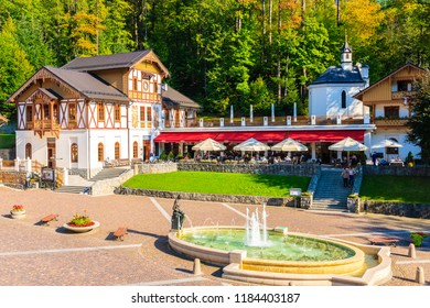 SZCZAWNICA, POLAND - SEP 19, 2018: Beautiful historic buildings of Szczawnica spa on sunny autumn day. This place is a well-known resort town famous for its favorable climatic conditions.