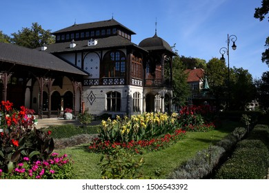 Szczawno-Zdroj, a spa town in the Lower Silesian Voivodeship, Walbrzych poviat, located in the Walbrzyskie Mountains (Central Sudetes), in Lower Silesia. The pump room and complex of spa buildings.