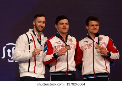 Szczecin / Poland - 13th April 2019: 8th European Men's and Women's Artistic Gymnastics Individual Championships - Apparatus Final Seniors Medalists - MAG Floor