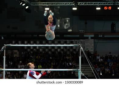 Szczecin / Poland - 13th April 2019: European Artistic Gymnastics Championships - Apparatus Final - WAG Uneven bars - Angelina Melnikowa