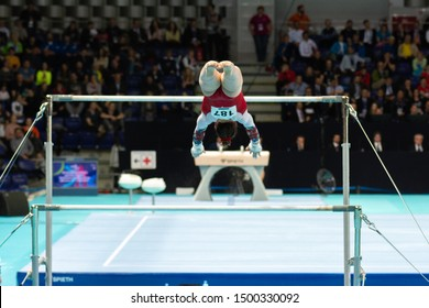 Szczecin / Poland - 13th April 2019: European Artistic Gymnastics Championships - Apparatus Final - WAG Uneven bars - Anastasiia Iliankova