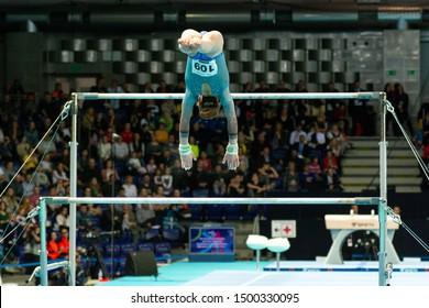 Szczecin / Poland - 13th April 2019: European Artistic Gymnastics Championships - Apparatus Final - WAG Uneven bars - Anastasiya Alistratava