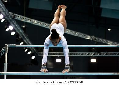 Szczecin / Poland - 13th April 2019: European Artistic Gymnastics Championships - Apparatus Final - WAG Uneven bars - Melanie De Jesus Dos Santos
