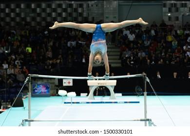 Szczecin / Poland - 13th April 2019: European Artistic Gymnastics Championships - Apparatus Final - WAG Uneven bars - Sanna Verman