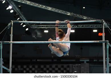 Szczecin / Poland - 13th April 2019: European Artistic Gymnastics Championships - Apparatus Final - WAG Uneven bars - Lorette Charpy