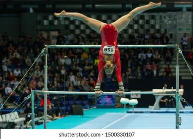 Szczecin / Poland - 13th April 2019: European Artistic Gymnastics Championships - Apparatus Final - WAG Uneven bars - Alice D'Amato