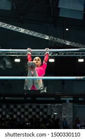 Szczecin / Poland - 13th April 2019: European Artistic Gymnastics Championships - Apparatus Final - WAG Uneven bars - Joanna Adlerteg
