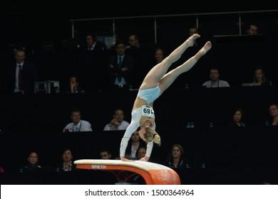 Szczecin / Poland - 13th April 2019: European Artistic Gymnastics Championships - Apparatus Final WAG Vault - Teja Belak
