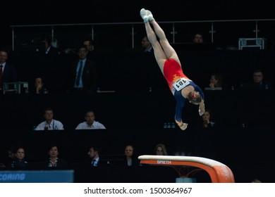 Szczecin / Poland - 13th April 2019: European Artistic Gymnastics Championships - Apparatus Final WAG Vault - Denisa Golgota
