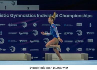 Szczecin / Poland - 13th April 2019: European Artistic Gymnastics Championships - Apparatus Final WAG Vault - Maria Paseka