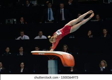 Szczecin / Poland - 13th April 2019: European Artistic Gymnastics Championships - Apparatus Final WAG Vault - Asia D'Amato
