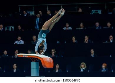 Szczecin / Poland - 13th April 2019: European Artistic Gymnastics Championships - Apparatus Final WAG Vault - Elissa Downie