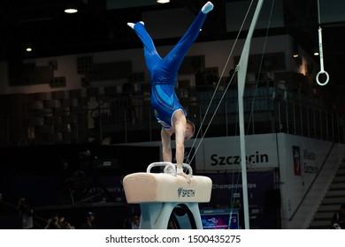 Szczecin / Poland - 13th April 2019: European Artistic Gymnastics Championships - Apparatus Final MAG Pommel horse - Oleg Verniaiev