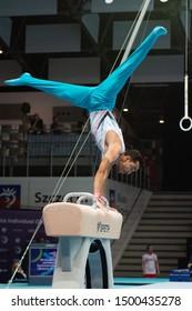 Szczecin / Poland - 13th April 2019: European Artistic Gymnastics Championships - Apparatus Final MAG Pommel horse - Ferhat Arican